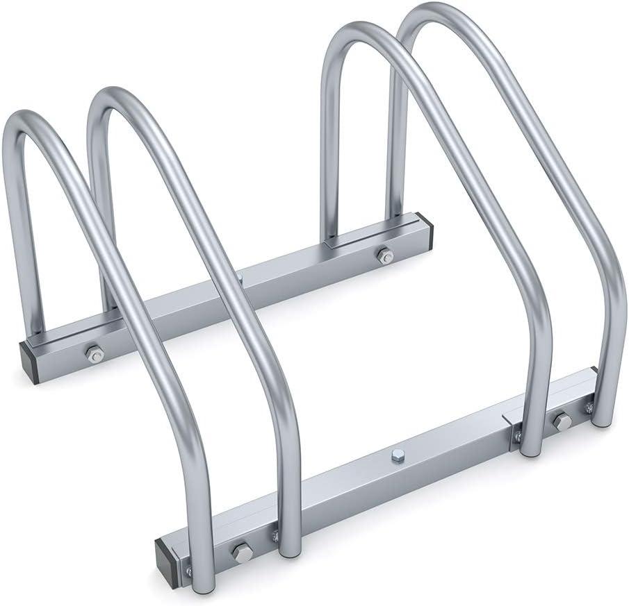 Monzana Aparcamiento para bicicletas soporte y organizador para 2 bicis para interior y exterior para pared y suelo