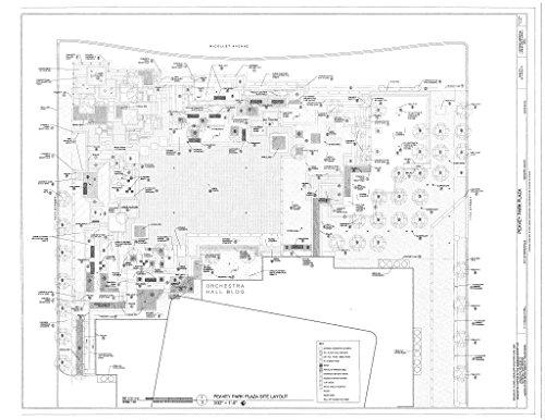 Historic Pictoric Blueprint Diagram site Plan - Peavey Park Plaza, 1111 Nicolet Mall, Minneapolis, Hennepin County, MN 44in x ()