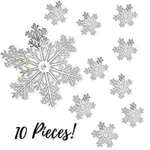 "BANBERRY DESIGNS Snowflake Ornaments - Clear Acrylic Large Snowflakes with Frosted Tips - Approximately 12"" in Diameter. 108"