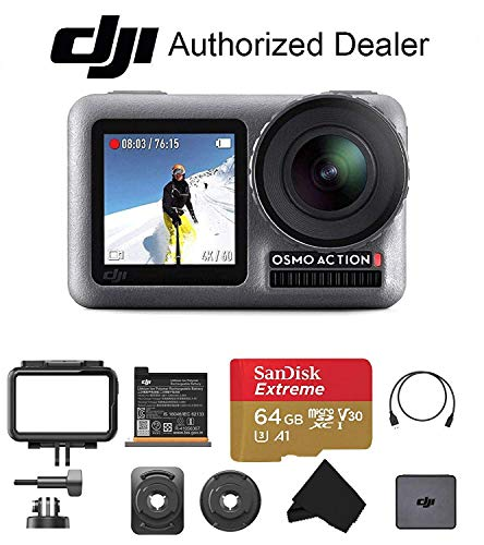 DJI OSMO Action - Dual Touch Display Waterproof Digital Action Camera with 4K HD Video 12MP Photos Live Streaming Stabilization, Starter Bundle, Free 64 GB Extreme SD Card