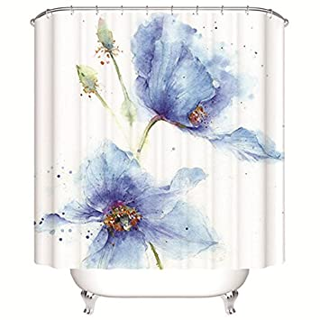 ALDECOR Watercolor Flower Art Shower Curtain Polyester Fabric Bathroom 80 Inches Extra Long