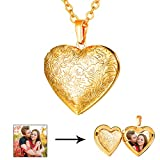 U7 Locket Necklace with Rolo Chain 22'' Flower Engraved Heart Shaped Pendant Girls Women Valentines Jewelry - Gift Packing (Gold)