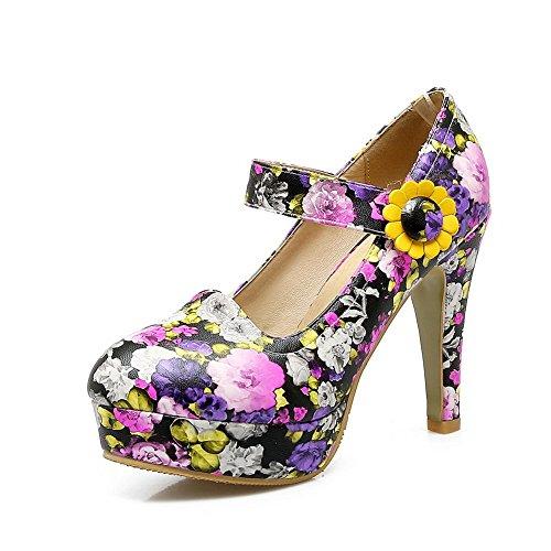 AN Womens Floral Dress High-Heel Urethane Sandals DIU00772 Purple H43PH