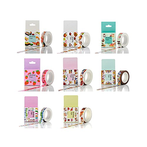 Zhi Jin 8Rolls Food Style Washi Tape Paper Set Masking Scrapbook