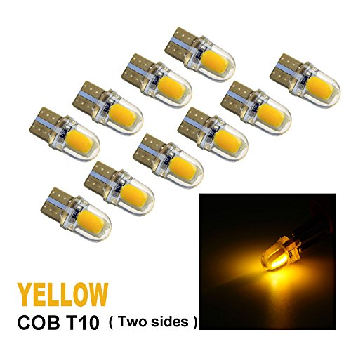PA 10 x COB LED (Two sides each 4 chip) T10 921 T15 194 CANBUS Silica Bright Side Marker Light/Turn Signal Light/Driving Light/License Light Bulbs (Yellow)