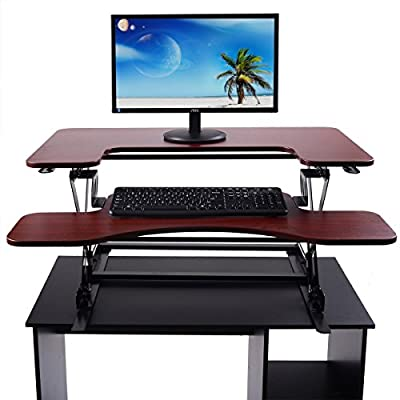 "LAZYMOON Ergonomic 36""Wide Preassembled Height Adjustable Standing Desk Riser/ Stand Workstation Elevating Desktop Removable Keyboard Tray, Brown"