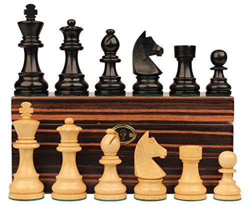 German Knight Chess Set (German Knight Staunton Chess Set in Ebonized Boxwood & Boxwood with Macassar Box - 3.75