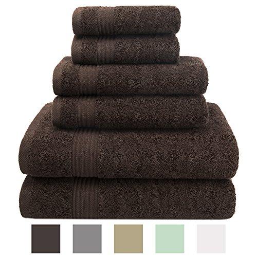 American Veteran Towel, 100% Cotton 6 Piece Turkish Bath, Hand and Face Towels, Chocolate Brown (Bath Towel Chocolate)