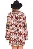 Umgee Womens Berry Multi-Print Trumpet Sleeve Dress