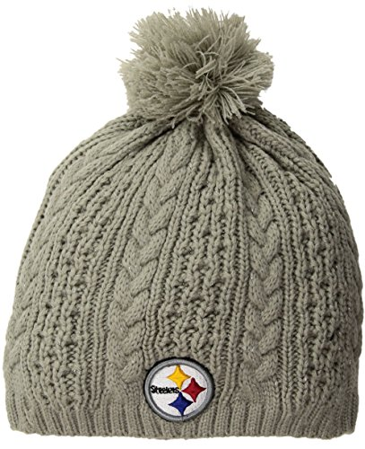 NFL Pittsburgh Steelers Women's Valerie OTS Beanie Knit Cap with Pom, Gray, Women's