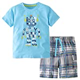Hsctek Boys' Cotton Clothing Sets, Short Sleeve T-Shirt & Short Sets for Summer(Alphabetic Robot, 2T/2-3YRS)