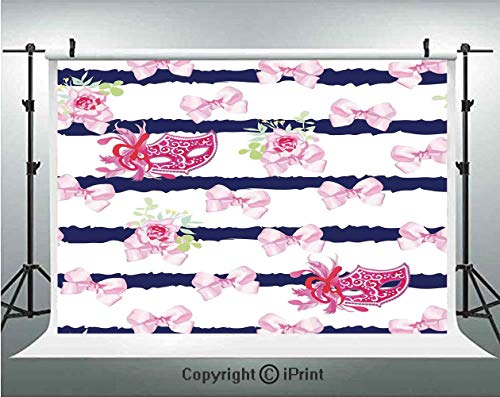 Masquerade Photography Backdrops Venetian Style Carnival Masks on Stripes with Satin Bows Roses Flowers,Birthday Party Background Customized Microfiber Photo Studio Props,7x5ft,Pink White Blue (Venetian Stripe)