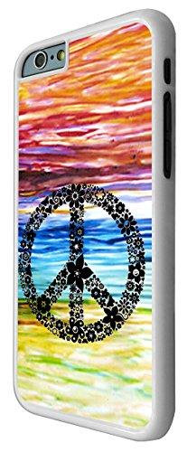 553 - colourful peace sign designer fashion Design iphone 6 6S 4.7'' Coque Fashion Trend Case Coque Protection Cover plastique et métal - Blanc