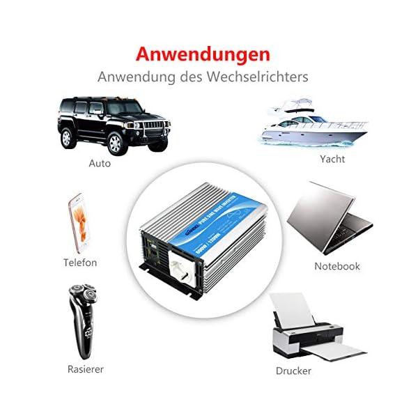 51vsDIWww9L 600W Wechselrichter Reiner Sinus Spannungswandler 12V auf 230V Power Inverter mit Fernbedienung und USB-Anschluss für…