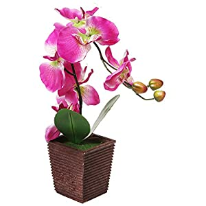 MyGift Decorative Synthetic Purple Silk Artificial Phalaenopsis Moth Orchid Flower w/Plant Stand 23