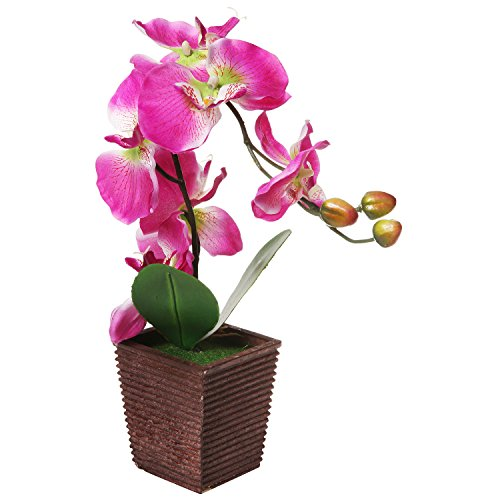Decorative Synthetic Purple Silk Artificial Phalaenopsis Moth Orchid Flower w/ Plant Stand - MyGift (Orchid Plant Stand)