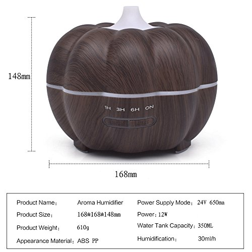 SoadSight Yrd Tech Pumpkin Wood Oil Aromatherapy Machine Humidifier Ultrasonic Home Creative Atmosphere Aromatherapy Humidifier (Brown) by SoadSight (Image #5)
