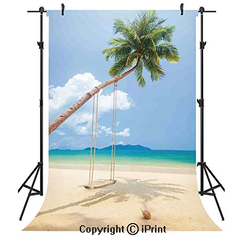 Ocean Photography Backdrops,Photo of a Tropical Island with Coconuts Palm Trees and a Swing Beach Home Decor Decorative,Birthday Party Seamless Photo Studio Booth Background Banner 5x7ft,Cream Blue Gr