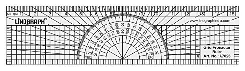 Linograph Multi Use Pattern Metric Grid Ruler With Protractor - 15 cm / 6 Inches