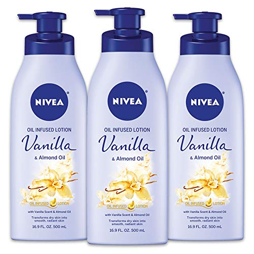 NIVEA Vanilla and Almond Oil Infused Body Lotion - Fast Absorbing 24 Hour Moisture for Dry Skin - 16.9 Oz. (Pack of 3)