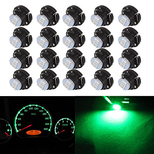 cciyu 20 Pack T5/T4.7 Neo Wedge 3 LED Green A/C Climate Control Light Bulbs New 8mm For 2001-2005 Honda Civic by CCIYU