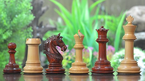 Chessbazaar The Indian Chetak Series Staunton Luxury Chess Pieces In Bud Rose Wood & Box Wood