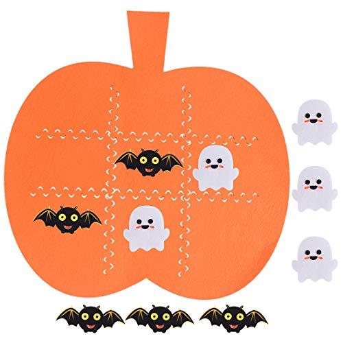 Max Fun Halloween Felt Tic Tac Toe Game Pumpkin Ticktacktoe Board Games for Kids Educational Toys Halloween Play Mat Set Halloween Festive Harvest Party Decoration Supplies (5pcs Bats & 5pcs Ghosts)