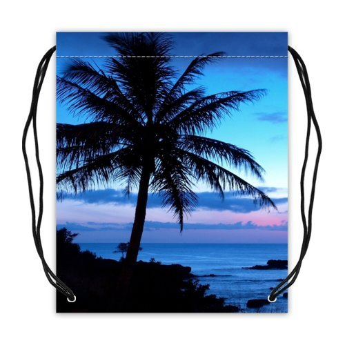 Tropical Hawaii Beach Palm Tree Summer Sunshine Collection Drawstring Backpack Basketball Drawstring Bags (Twin - Maui Outlet Shopping