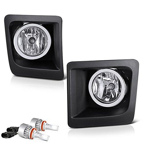 [Built-In LED Bulbs] VIPMOTOZ For 2014-2015 GMC Sierra 1500 Fog Lights - [Factory Style] - Metallic Chrome Housing, Driver and Passenger Side -
