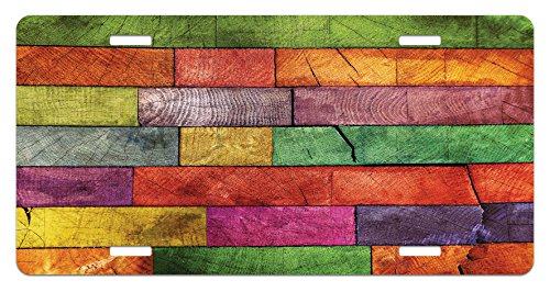Rustic License Plate by Ambesonne, Vivid Colored Several Equally Pieced Timber Construction Vertical Column Countryside, High Gloss Aluminum Novelty Plate, 5.88 L X 11.88 W Inches, - Columns Rustic