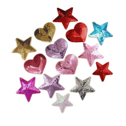 (Ximkee Pack of 10 Shiny Heart Sequins Iron on Applique Embroidered Patches)