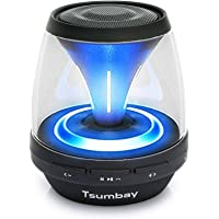 Mini Portable Bluetooth Speaker with Lights, Tsumbay Vivid Sound Led Speakers with FM Radio, 12 Mode Color Charging Bedside Night Light Kids Boombox for iPhone, Samsung, iPad, Computer