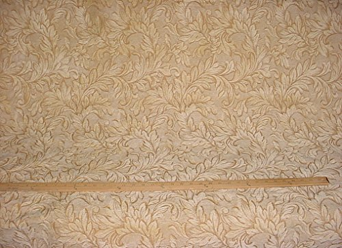 20RT6 - Gold / Harvest Leaf Damask Chenille Designer Upholstery Drapery Fabric - By the Yard