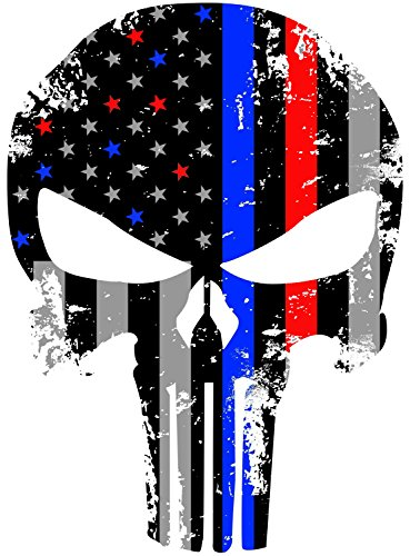 Red and Blue Tattered 4x3 Inch Subdued Us Flag Punisher Skull Reflective Decal with Thin Blue Line (Police and fire Support)