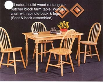 New Natural Butcher Block Farm Dining Table 4 Chairs