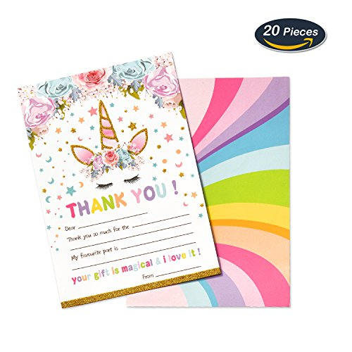 AMZTM Magical Unicorn Thank You Cards Notes for Kids Birthday Baby Shower Party Supplies Favors Fill-in Blank Design 20 Pieces Kit