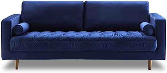 Bente Tufted Velvet 3-Seater Sofa, Blue