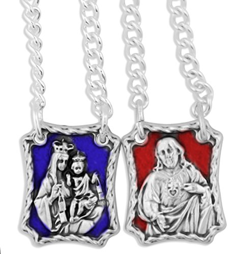 (Our Lady of Mount Carmel Metal Scapular (Enamel Accents))