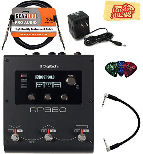 Multi Effects Lexicon Processors (DigiTech RP360 Multi-Effects Pedal Bundle with Power Supply, Instrument Cable, Patch Cable, Picks, and Austin Bazaar Polishing Cloth)