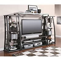 Coaster Home Furnishings Contemporary Tv Console, Black and Silver