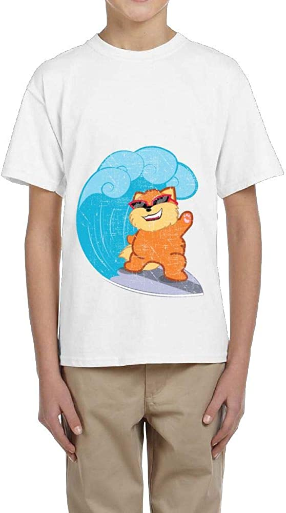 Boy Short-Sleeved Shirts Crew-Neck Happy Cat with Glasses Surfing