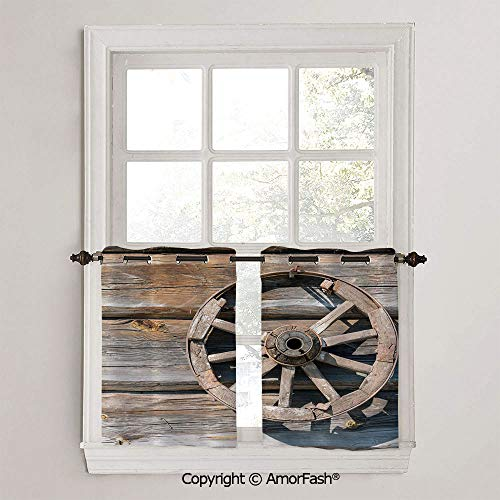 Barn Wood Wagon Wheel Half Window Curtain Classic Kitchen Curtains Checkered Design Curtains for Bathroom,W42 x L45-Inch,Old Log Wall with Cartwheel Telega Rural Countryside Themed Image Decorative (Cartwheels Wagon Classic)