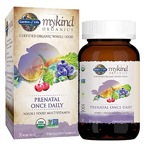 Garden of Life Organic Prenatal Multivitamin Supplement with Folate - mykind Prenatal Once Daily Whole Food Vitamin, Vegan, Organic, Non-GMO & Kosher, 30 Tablets | Color May Vary