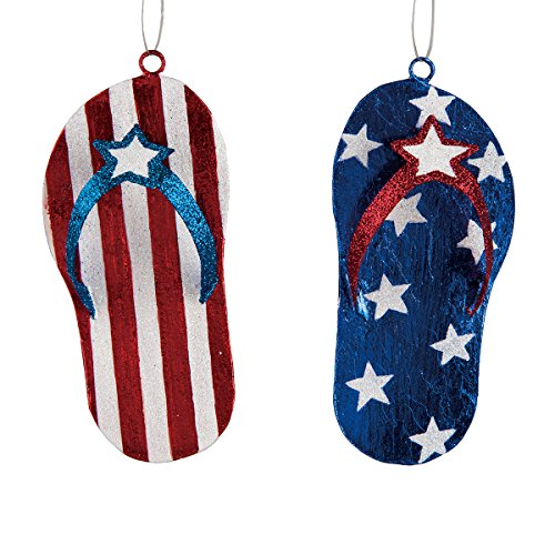 Patriotic Flip Flop Ornament Assortment of 2