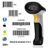 【UPGRADE2.0】1D Bluetooth Barcode Scanner MUNBYN Wired+ Wireless 2 in 1 Laser Barcode Reader for Android iOS Windows System