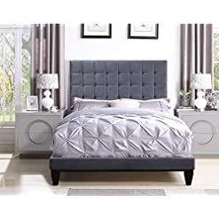 Bedroom Iconic Home Verdi Bed Frame with Headboard Velvet Upholstered Button Tufted Tapered Birch Legs, Modern Transitional… modern beds and bed frames