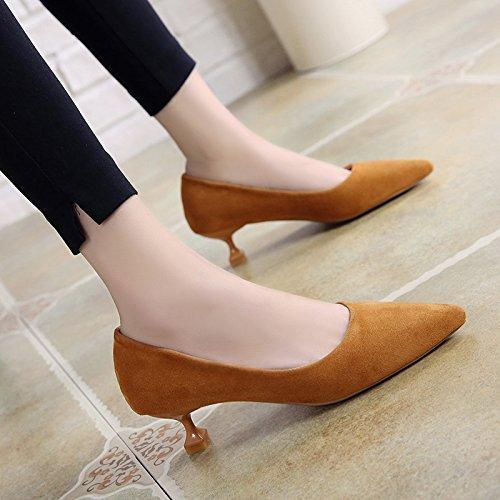 Xue Qiqi high-heel Schuhe Frauen Schuhe mit feinem Samt-Tipp und und und Mitte - Karriere mit nur einem Schuhe 3 cm f08eb2