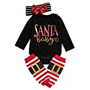 Ma&Baby 3pcs Baby Girl Boy Cute Long Sleeve Romper Leg Warmers hairband Outfits Christmas Costume, 0 - 6 Months (70)
