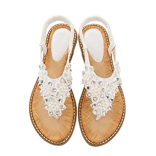 Ruiatoo Comfort Sandals for Women Bohemia T-Strap Ladies Summer Flats Sandals Rhinestone Flower Flip Flops White 40 -