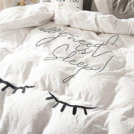 Simple de algodón Blancas Bordadas de Cuatro Piezas de 2,0m de algodón sábanas de algodón Colcha Cama Cubierta del colchón,Hoja de Cama,Solo Quiero Dormir,2,0 m (6,6 pies) Cama: Amazon.es: Hogar